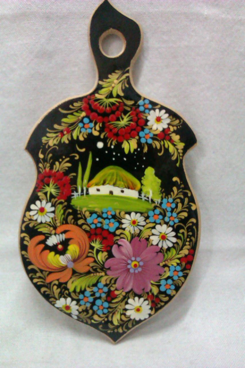 Обробна дерев'яна дошка із буку з розписом