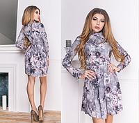 2d68a6a18c8e812 Короткое женское платье с воротником-стойкой и длинным рукавом. Размеры:  42-44,44-46. +Цвета
