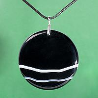 Оникс, Ø55 мм., серебро, кулон, 991КЛО