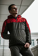 Мужской весенний Анорак Intruder Hypnotic, черно-красный мужской анорак