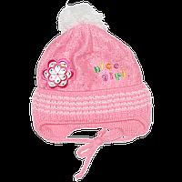 Детская вязаная шапочка р. 42-46 одинарная на весну осень с завязками новорожденной девочке 2691 Розовый 44