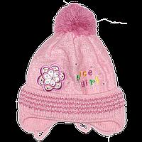 Детская вязаная шапочка р. 42-46 одинарная на весну осень с завязками новорожденной девочке 2691 Розовый 44 А