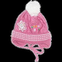 Детская вязаная шапочка р. 42-46 одинарная на весну осень с завязками новорожденной девочке 2691 Розовый 42 Б