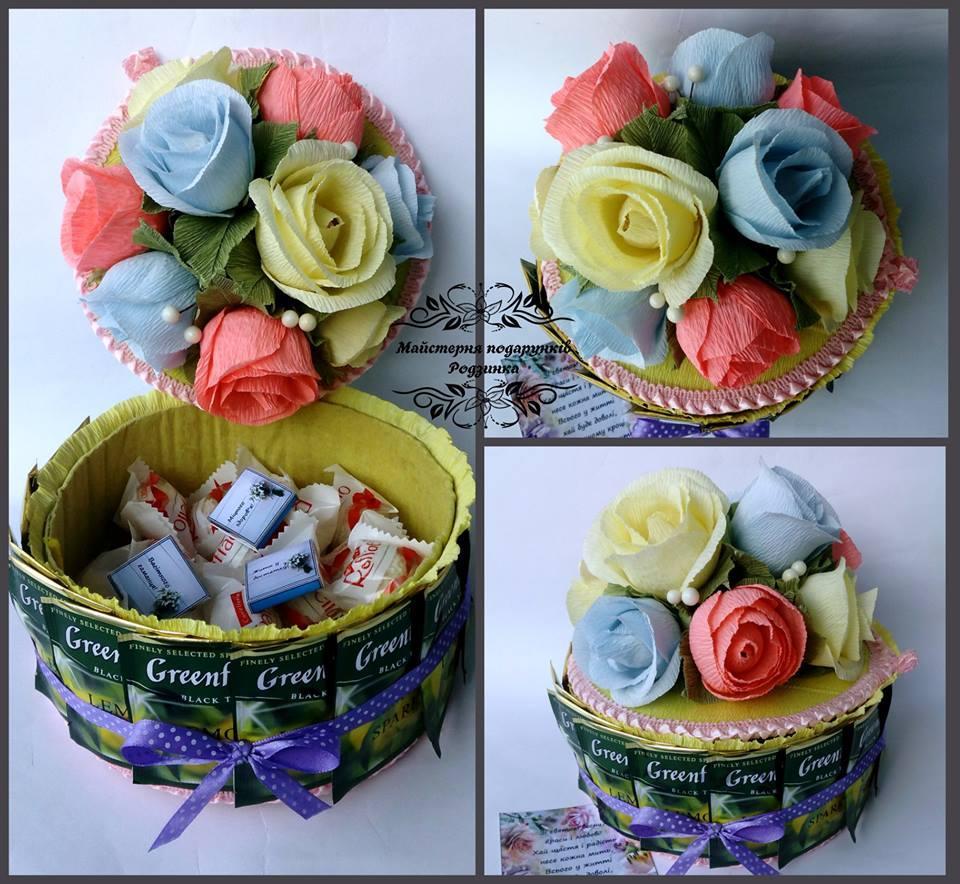 Подарунок Тортик-скринька з чайними пакетиками і цукерками
