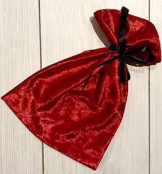 Красный велюровый мешочек для упаковки с атласной лентой