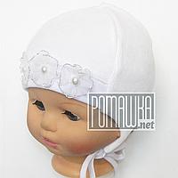 Детская велюровая шапочка р. 38 с завязками для новорожденного с подкладкой ТМ Мамина мода 4381 Белый