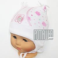 Детская велюровая шапочка р. 40 с завязками для новорожденного с подкладкой ТМ Мамина мода 4383 Розовый