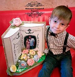"""Подарунок """"Книга з вашим фото та вітанням"""" на День народження, ювілей,весілля, Подарок, букет с конфет """"Книга"""""""