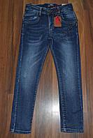 Стрейчевые зауженные джинсы для мальчика с потертостями,р.8 лет