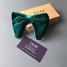 Эксклюзивный галстук-бабочка I&M Craft из изумрудного велюра (011301)