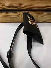 Женская бананка, барыжка черного цвета, на пояс, ремень, с пчелой спереди, фото 2