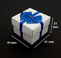 Подарочная коробочка, белая с Синим Бантом, для колец и сережек