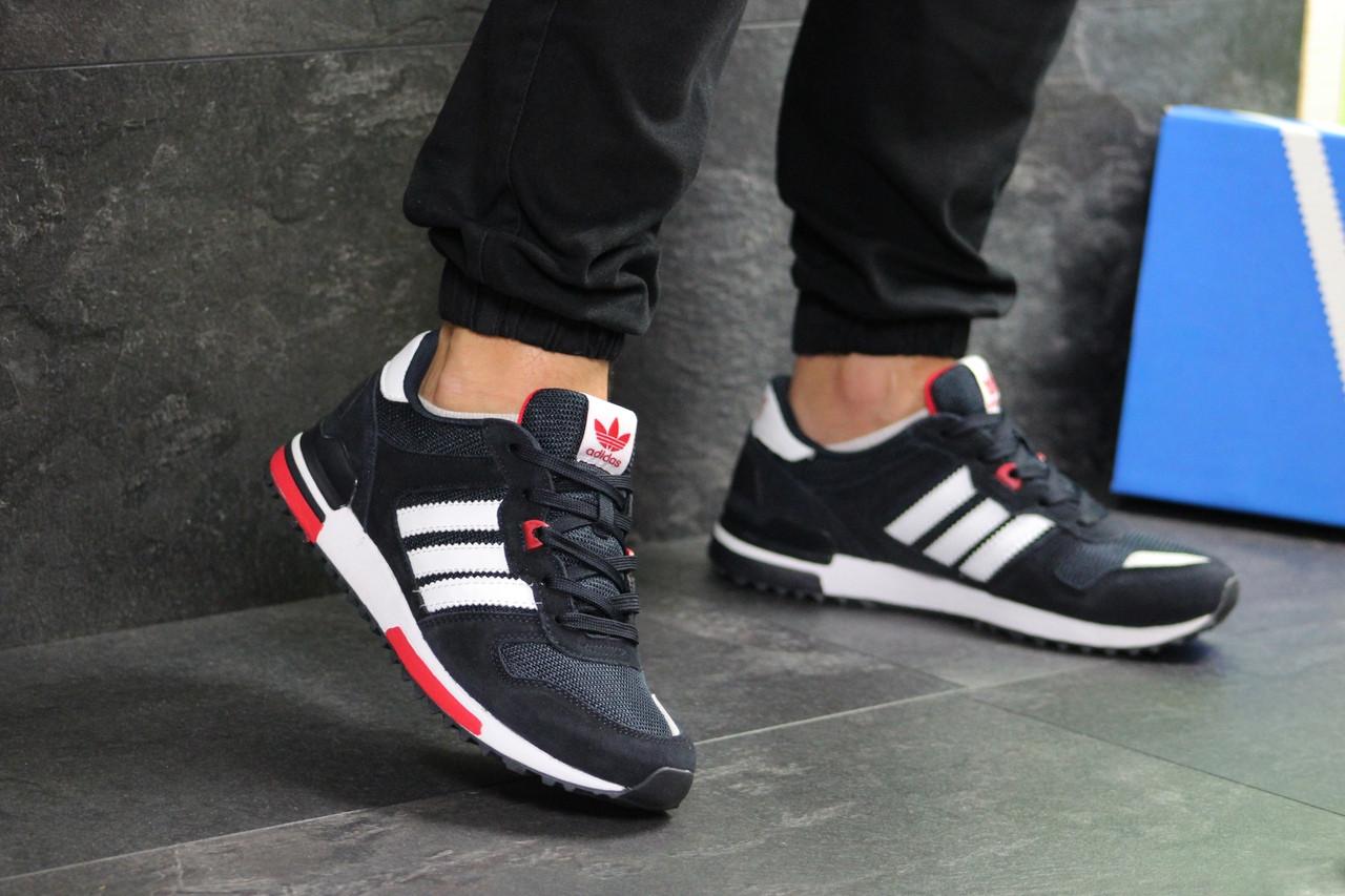 Мужские кроссовки Adidas ZX 700 (Темно-синие с белым)