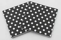 Салфетки черные в горошек 15 шт, фото 1