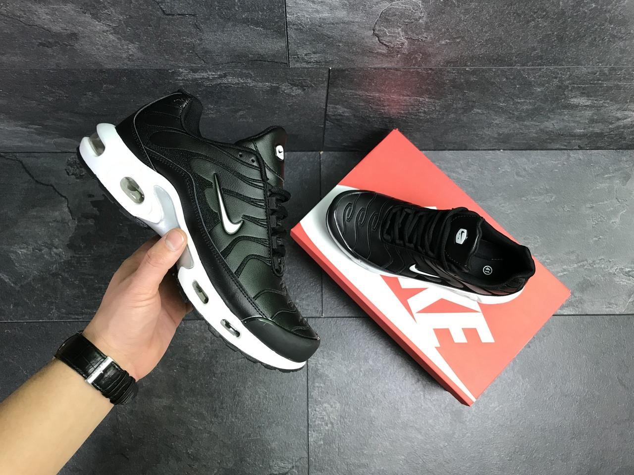 84e60d0e Кожаные мужские кроссовки Nike Air Max TN на весну повседневные под джинсы  в черном цвете,