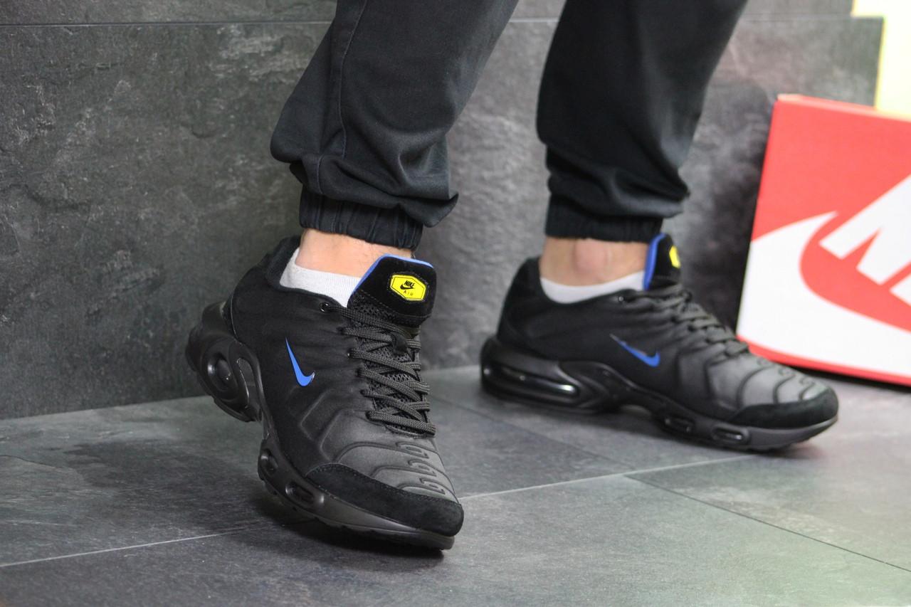 8bdc801f Кожаные мужские кроссовки Nike Air Max TN весенние повседневные найки из  текстиля/замша (черные