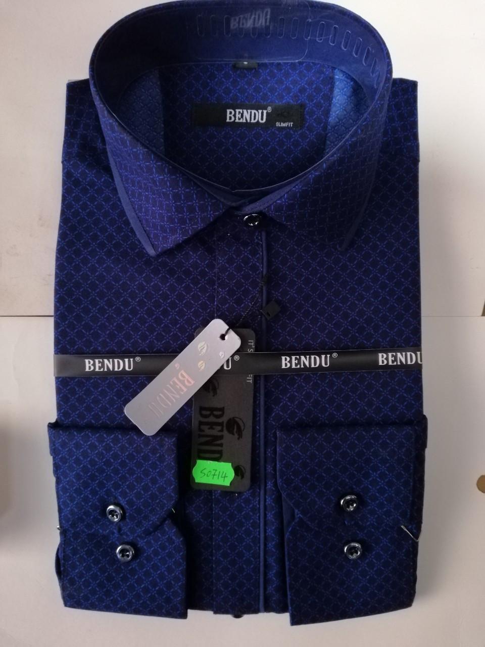 Приталенная васильковая с узором рубашка BENDU (размеры под заказ S.M.L.XL.XXL.XXXL)