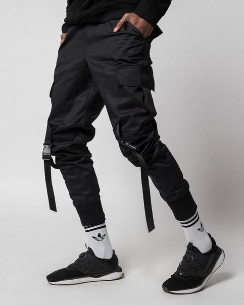 Зауженные карго штаны черные мужские от бренда ТУР Ёсимицу (Yoshimitsu) TУRWEAR