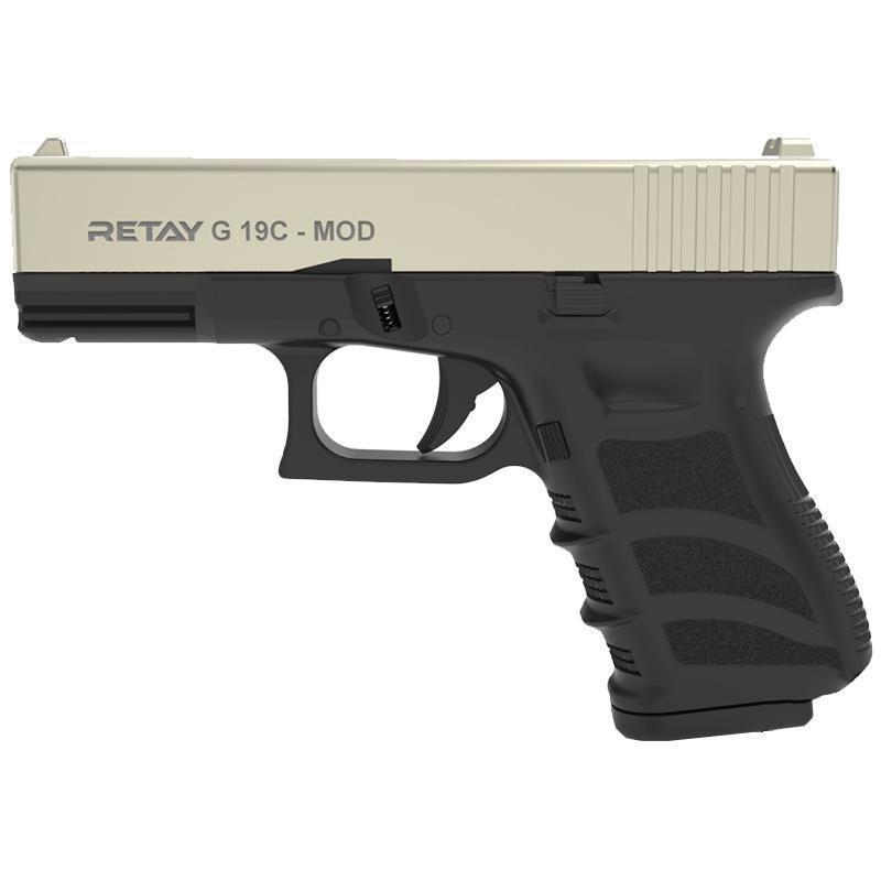 Сигнальний пістолет, стартовий Retay Glock G 19C (9мм, 7 зарядів), сатин