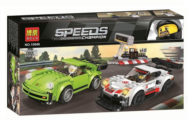 Конструктор Bela 10946 Чемпионы скорости Porsche 911 RSR и 911 Turbo 3.0 (аналог Lego Speed Champions 75888)