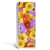 Виниловая наклейка на холодильник Многоцвет (декор холодильника, цветы, самоклеющаяся пленка)