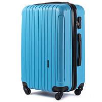 Маленький пластиковый эффектный дорожный чемодан на 4 колесах фирма Wings (голубой)