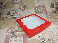 Коробка для пряников / 230х230х30 мм / печать-Красн / окно-обычн, фото 1