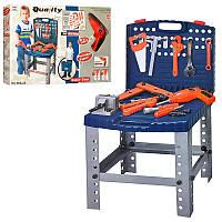 Детский Чемодан Стол Игровой набор инструментов, чемодан - верстак, дрель вращается, 57 деталей,008-22