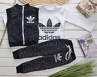 Детский теплый костюм тройка в стиле Adidas на рост 80-110 см