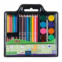 Набор для рисования (краски, цв.карандаши, мел восковый, кисть натуральная, чинка)