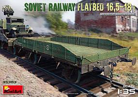 Советская железнодорожная платформа 16,5-18 т. Сборная модель в масштабе 1/35. MINIART 35303