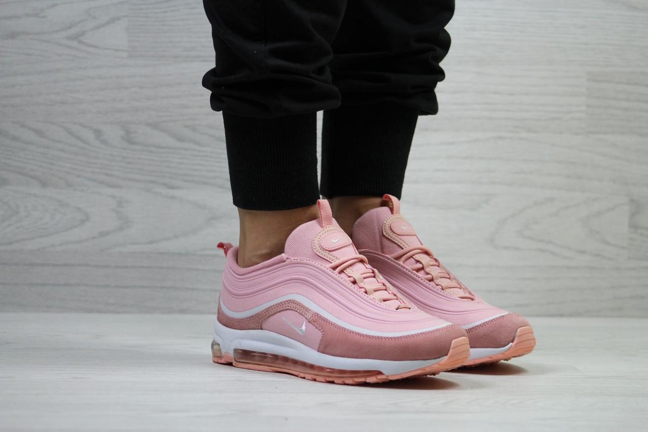Женские кроссовки Nike яркие модные молодежные текстиль/замша+пена (розовые), ТОП-реплика