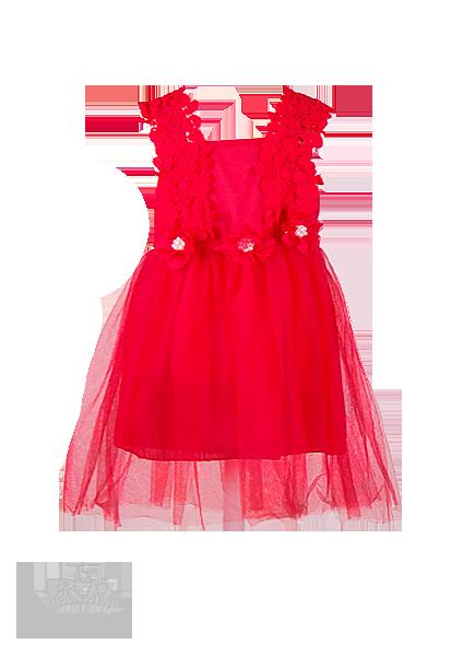 Платье для девочки алого цвета с кружевом на лифе