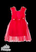 Платье для девочки алого цвета с кружевом на лифе, фото 1