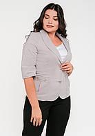 Классический женский полуприталенный жакет с рукавами три четверти Modniy Oazis серый 9063/3, фото 1