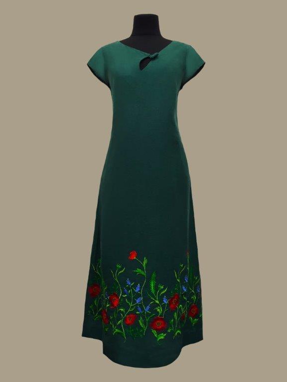 Галерея льону / АКЦІЯ повний розпродаж!!! ЛІТО-2020. Сукня Мирослава темно-зелена 50