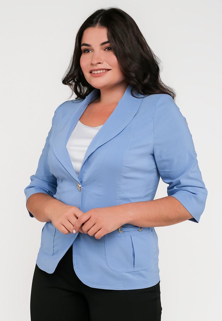 Классический женский полуприталенный жакет с рукавами три четверти Modniy Oazis голубой 9063/5, фото 1