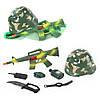 Каска 8011, 21см, военный набор, 7 предметов (автомат-трещотка), в сетке, 38-13-4см