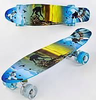 Пенни борд Волна для детей от 6 лет, 55 см, СВЕТ колёса PU 6см Скейтборд, Penny board, Лонгборд детский