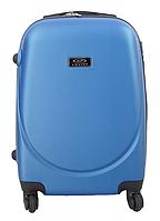 Маленький пластиковый компактный дорожный чемодан на 4 колесах фирма Wings (голубой)