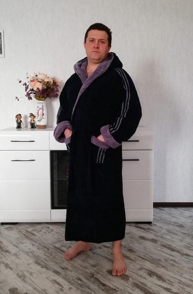 Тёплый мужской халат с капюшоном Adidas