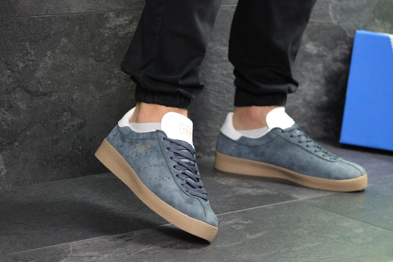Стильні чоловічі кеди Adidas Topanga на весну повсякденні зручні на шнурівці в синьому кольорі, ТОП-репліка