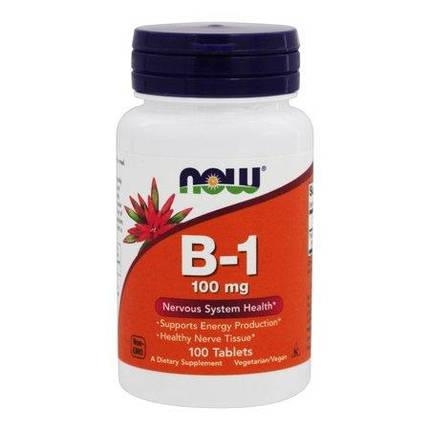B-1 100 mg NOW Foods 100 Tabs, фото 2