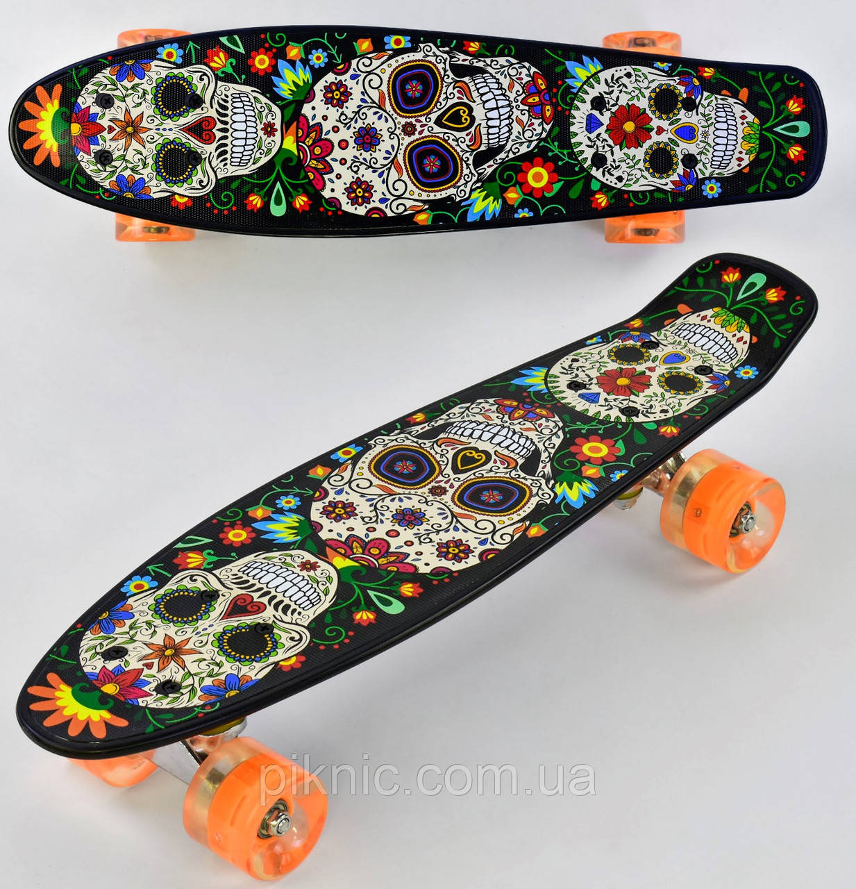 Пенни борд Череп для детей от 6 лет, 55см, Свет колёса PU 6см Скейтборд Penny board, Лонгборд детский