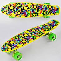 Пенни борд Орнамент для детей от 6 лет, 55см, Свет колёса PU 6см Скейтборд Penny board, Лонгборд детский