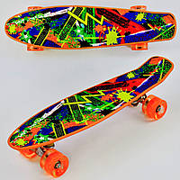 Пенни борд Молния для детей от 6 лет, 55см, Свет колёса PU 6см Скейтборд Penny board, Лонгборд детский