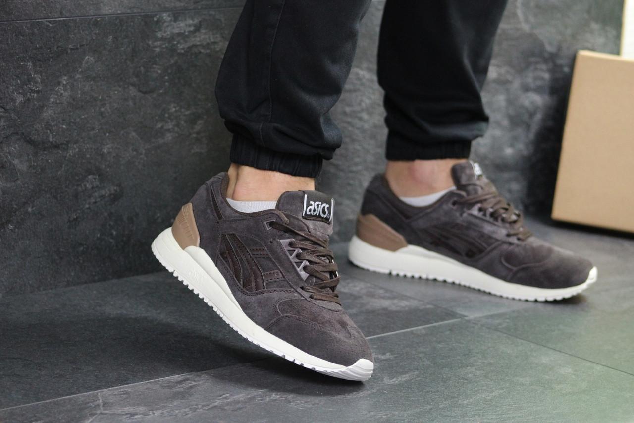 Повсякденні чоловічі кросівки Asics Gel замшеві якісні на шнурівці в коричневому кольорі, ТОП-репліка