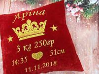 Подушка з короною і метрикою червона, фото 3