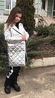 Модное детское пальто для девочки, теплое на пуговицах