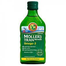 Mollers tran. Omega -3 Норвежский жидкий рыбий жир в стеклянной таре, 250 мл